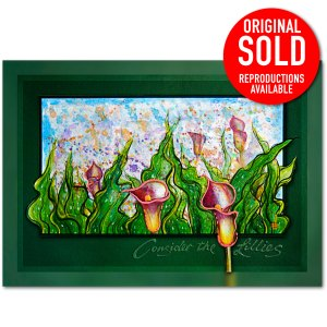 Red Cala Lily in all its splendor, oil painting.