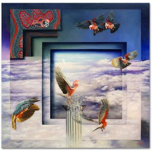 Oil painting - Pink Galahs Joy - Indigenous art Gallery