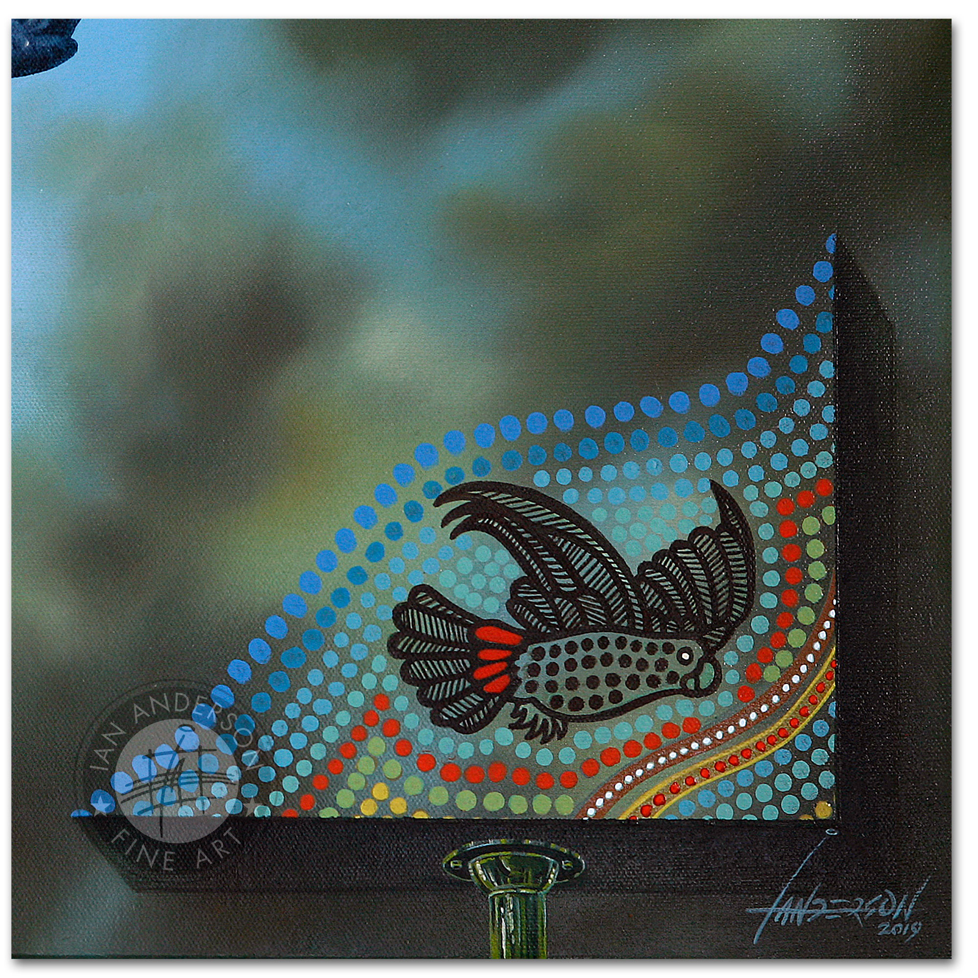 Red Tail Black Cockatoo indigenous close up 3 - Original Oil Painting on gesso primed canvas