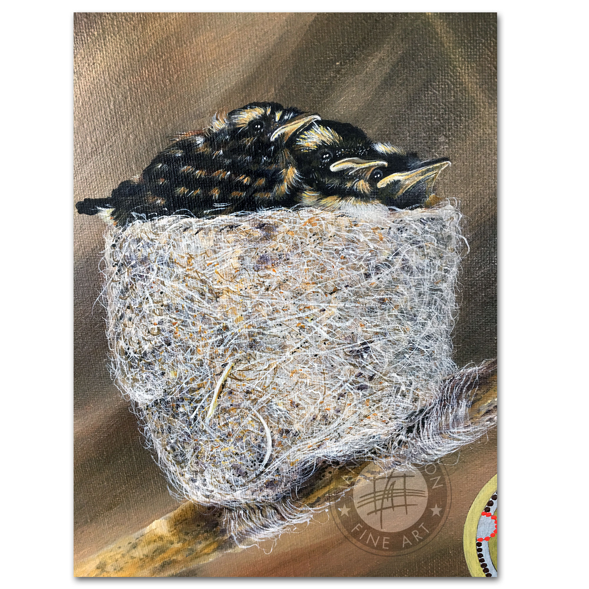 Willy Wagtail and its family story - Oil painting Australian wildlife with pendant and nest