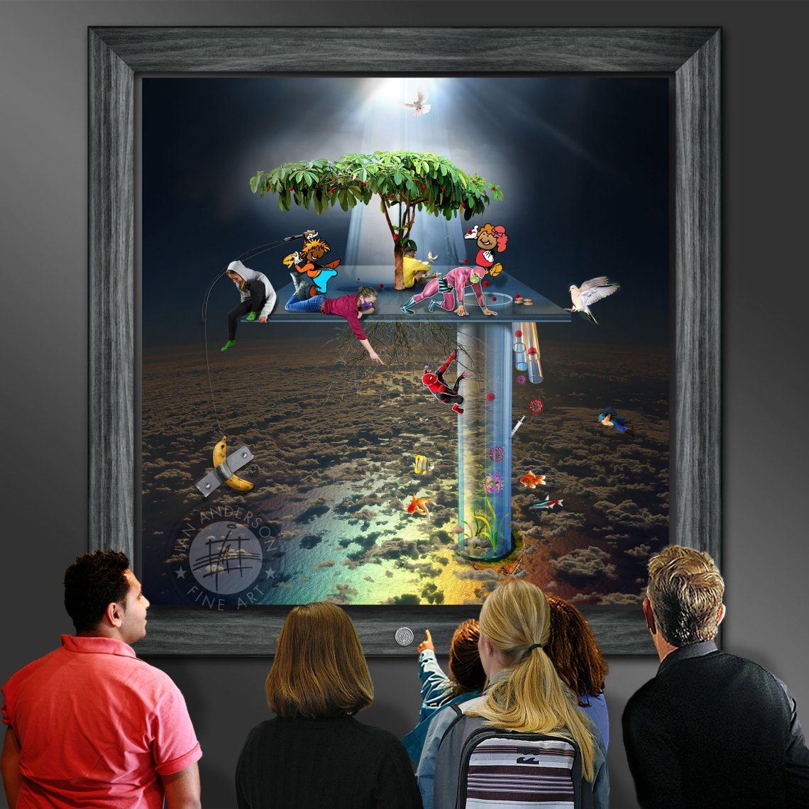 """Comedy caricature banana ducktape From Heaven To Earth oil painting with banana and duck tape """"Comedy"""" associated with cartoon caricatures"""