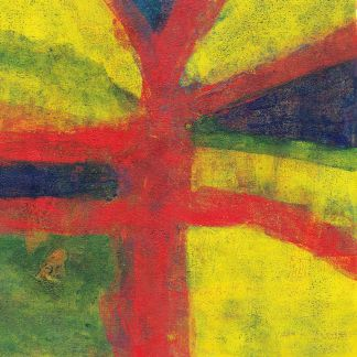 monotype print in red, yellow and green derived from the concept of a flag