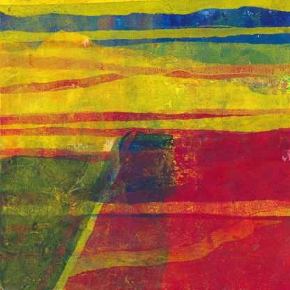 imaginary landscape abstract monotype print