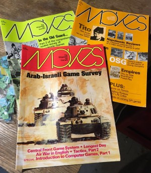 MOVES magazine with my computer gaming reviews, 1980s