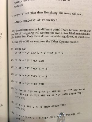 Page of Taipan showing BASIC code