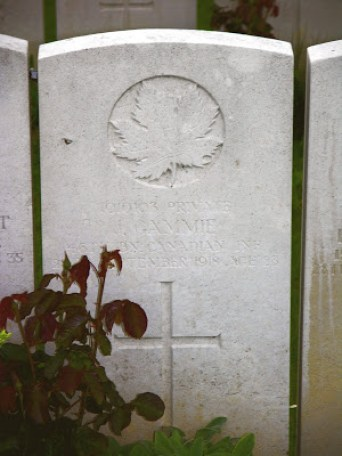 James Gammie gravestone, Bucquoy Road Cemetery, Arras, France