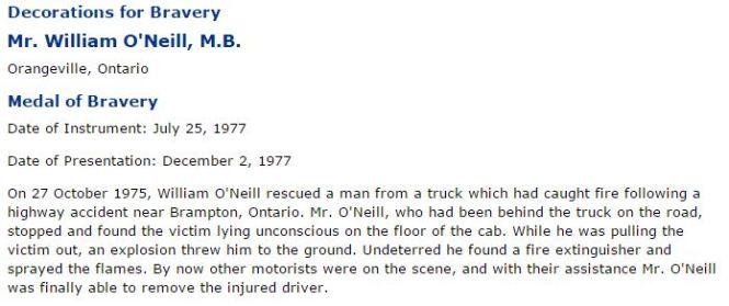 O'NEILL William 'Bill' medal of bravery 1977