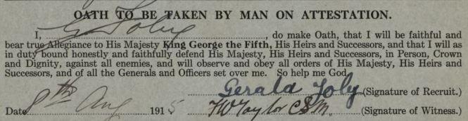 FOLEY Gerald WWI oath with signature 1915