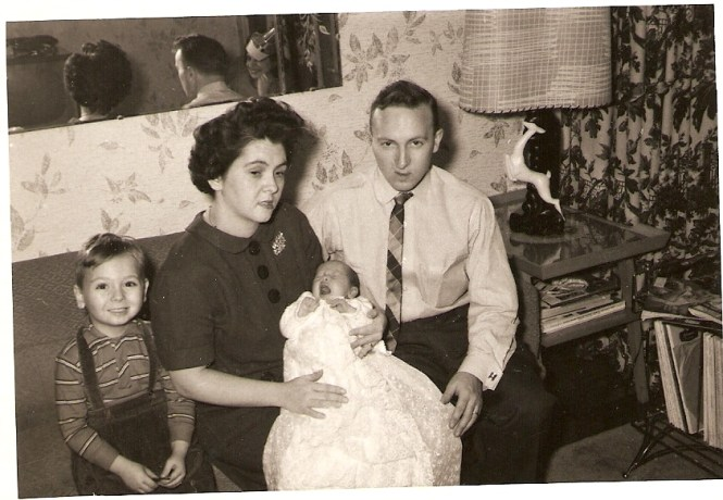 Yours Truly with my parents Anne (O'Neill) and Lewis Hadden and my sister Lou-Anne on the day of Lou-Anne's christening
