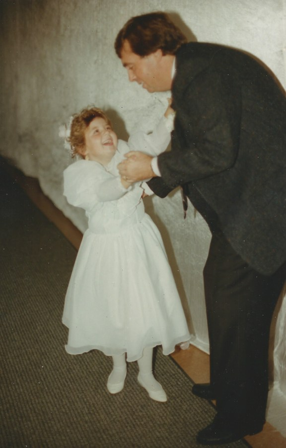 Lisa (Hadden) Donovan, the flower girl, dancing with Yours Truly, September 1990