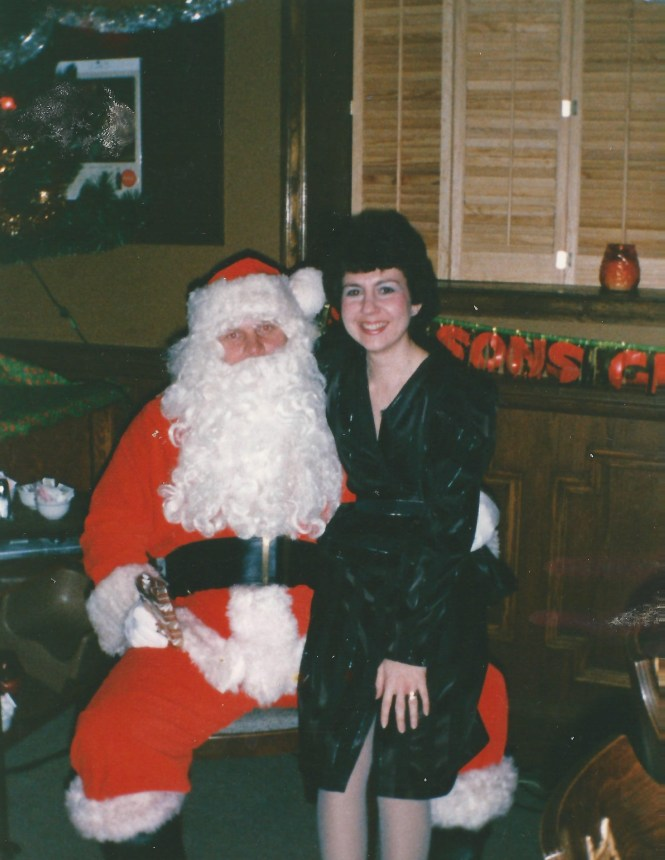 HADDEN Karen Benedetto with Santa office party 1996