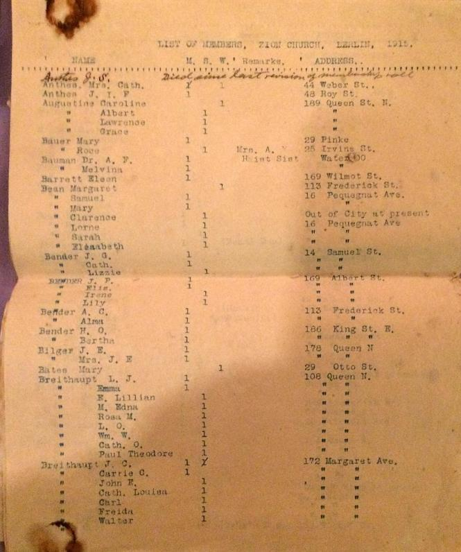BERLIN Ont ZION EVANG Church members list 1915 p1
