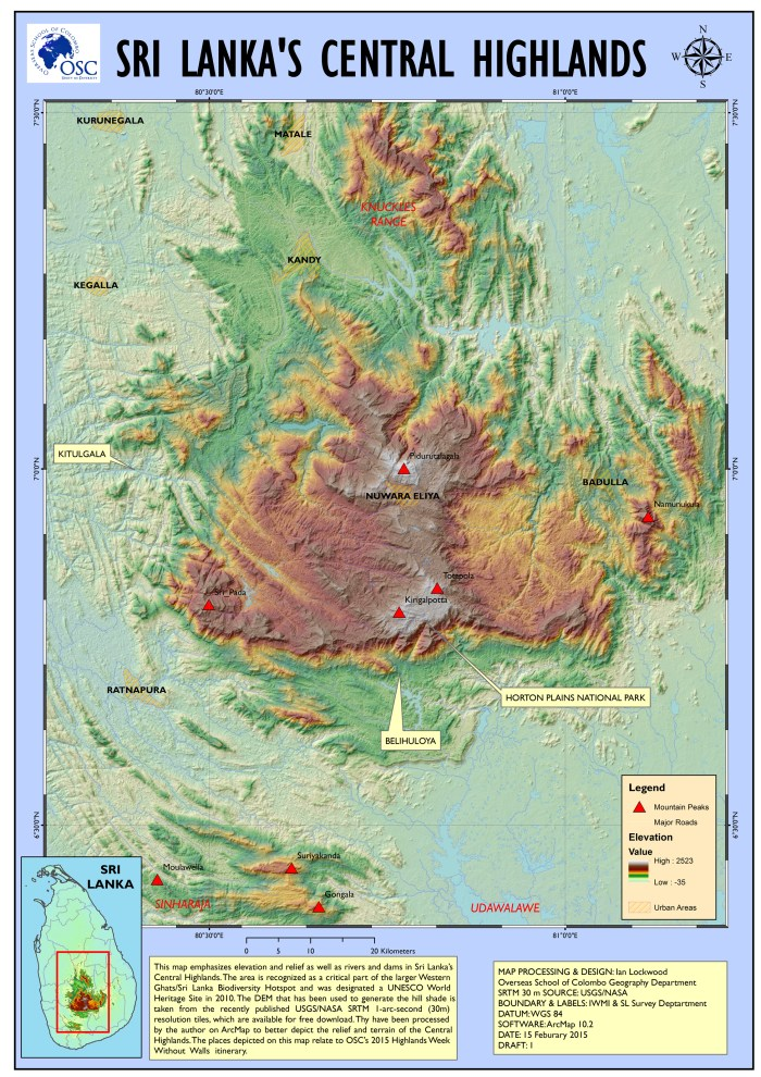 Elevation map of the Central Highlights emphasizing areas that the 2015 WWW Highlands WWW group visited.