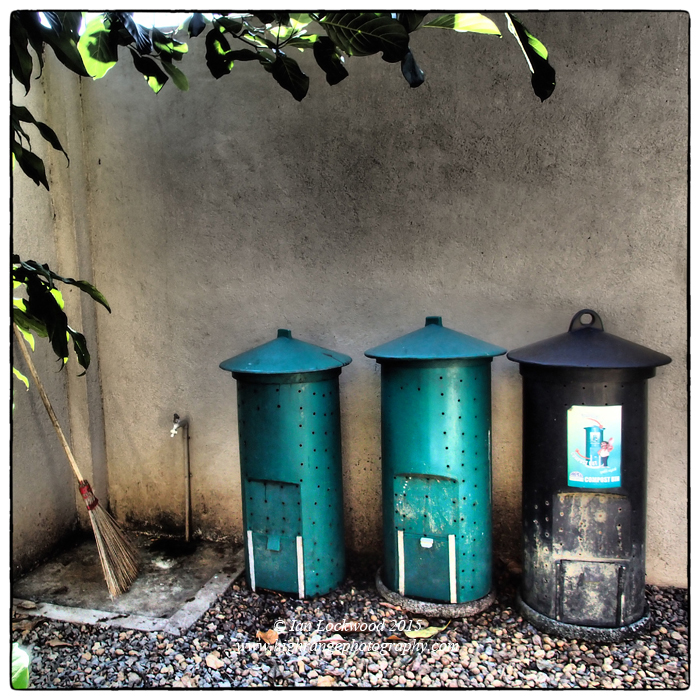 Three stages of compost at home. The bins are made by Arpico and also marketed/promoted by the CEA.