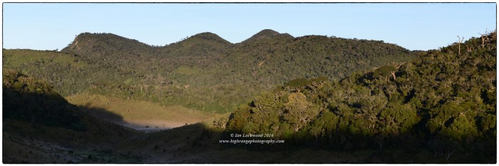 View 2: Cloud forest and frosty valleys of patanas in Horton Plains National Park. Kirigalpotta (2,388 m) Sri Lanka's 2nd highest peak is undistinguished high point in the middle of the image. It has a more prominent, pyramid profile when see from the west.