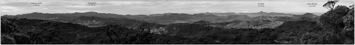 View south from the lower slopes of Pidurutalagala. The panorama is snitched together from nine different images and greatly reduced in size in order to upload it here. Key mountains are labeled on the image.