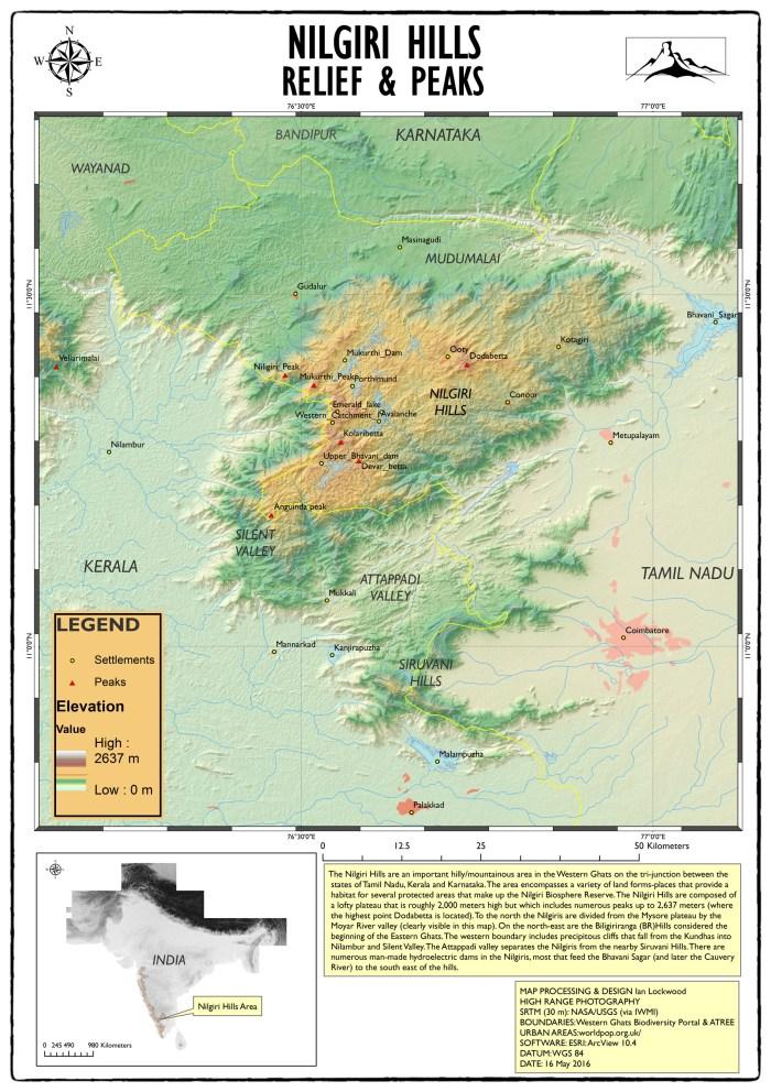 Nilgiri HIlls relief & elevation map.