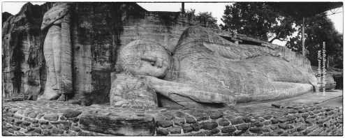 Gale Vihara recumbent (and standing ) Buddha photographed on medium format film with a Noblex 120 camera in January 2006.