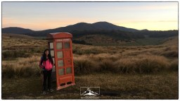 Sanjana and the curious telphone box at Mahaeliya.