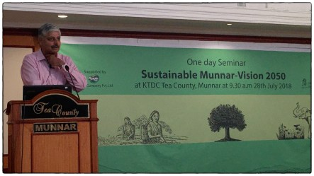 """Vivek Menon, the founding director of Wildlife Trust of India giving his talk """"Complete Conservation: Ecologically Sensitive Development, a Global Perspective."""""""