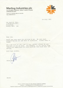 Marling Industries Letter 24 July 1985
