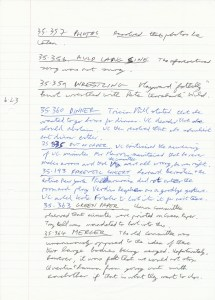 10 June 1985 Spoof Minutes Manuscript Page Three