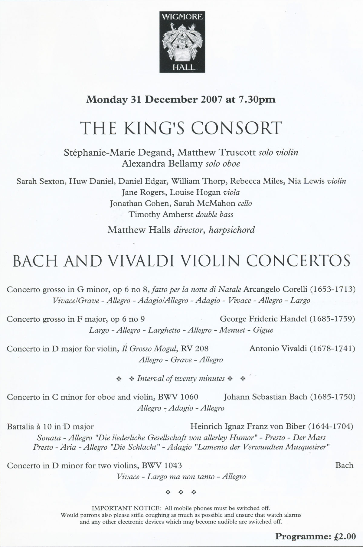 The King's Consort, Bach and Vivaldi Violin Concertos
