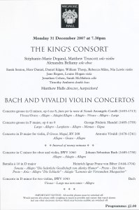 Kings Consort 31 Dec 2007