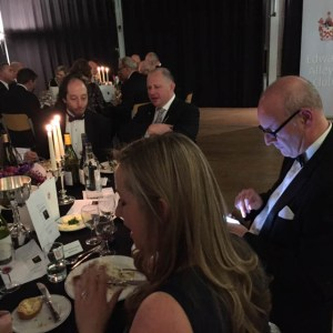 Our table rapt with attention as Sir Nigel orates. Mr Wellbrook taking electronic notes, presumably