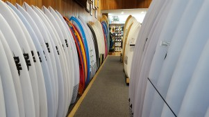 The RipCurl surfing brand was started in Torquay. We decided to check out their stock of surfboards and pretend to know what we were doing