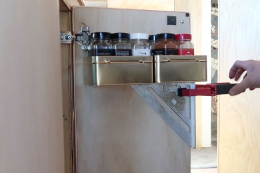 Final Skoolie Touches - The spice rack cabinet