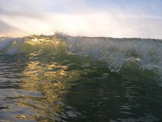sunset wave break - surfing pacifica