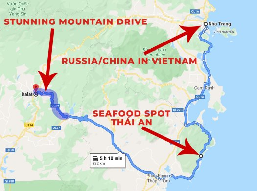 Dalat to Nha Trang motorcycle journey map