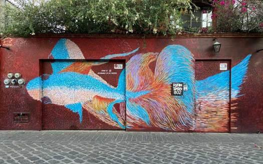 mural de pesca en oaxaca en calle de manuel garcia vigil