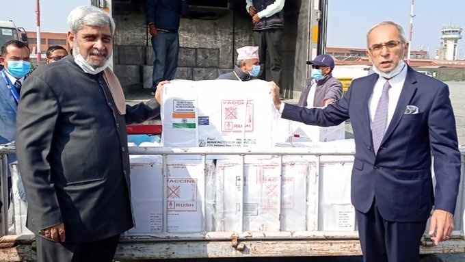 Indian Covid vaccine arrives in Nepal (Credit: twitter.com/DrSJaishankar)