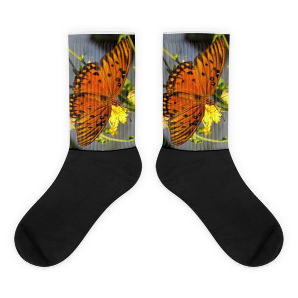 Orange Butterfly Socks