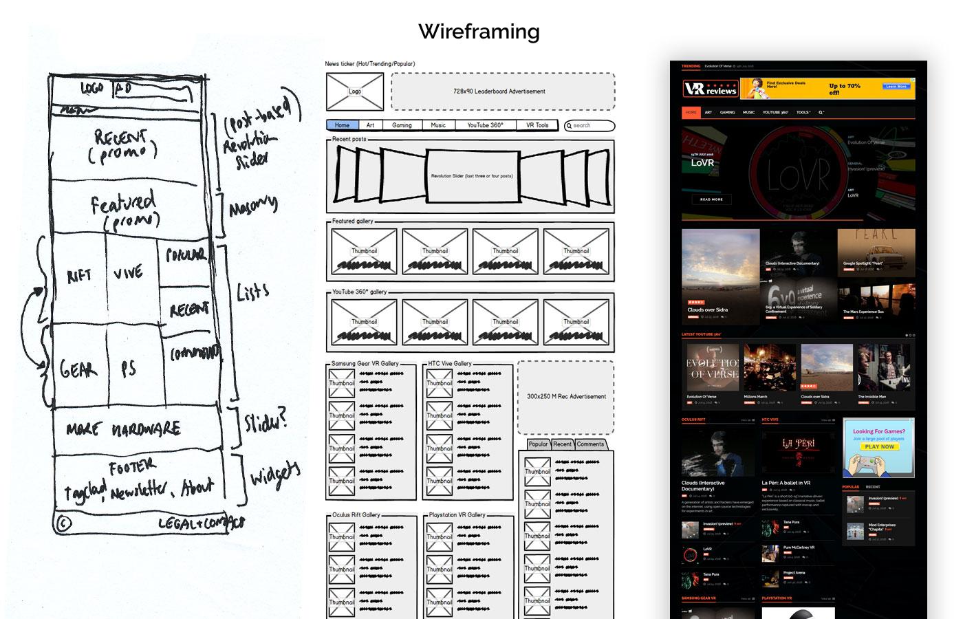 v-r.reviews - wireframing