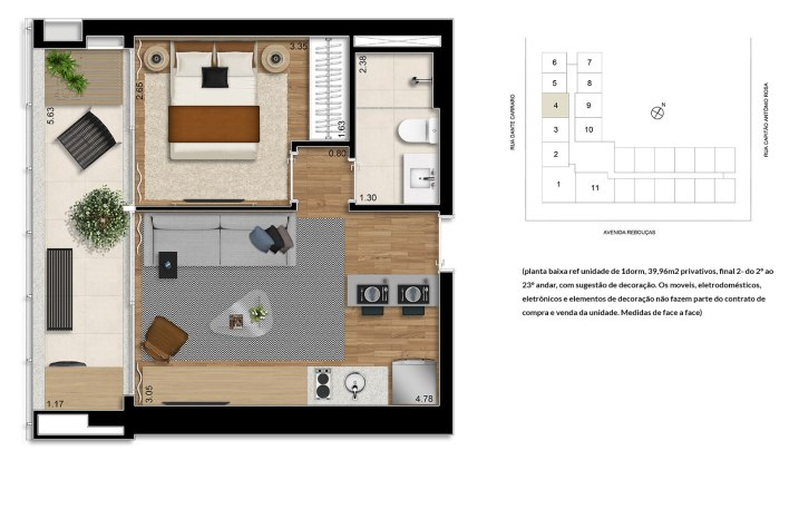 Planta 1 Dormitório - 39,96m²