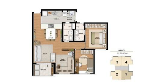 Planta de 77m² com 2 Dormitórios e Sala ampliada