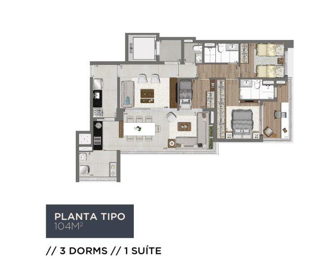 Planta Living 104m2 - 3 Dorms
