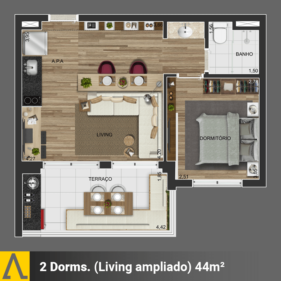 Walk SP - Planta 1 Dormitório de 44m²