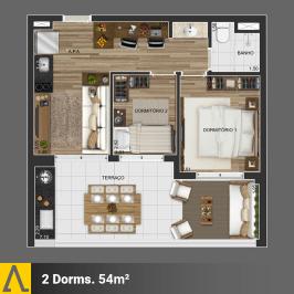 Walk SP - Planta 2 Dormitórios de 54m²