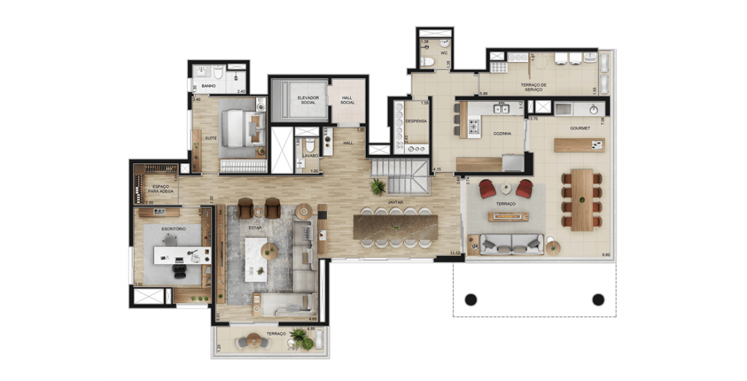 Townhouse de 377m² - Piso Inverior