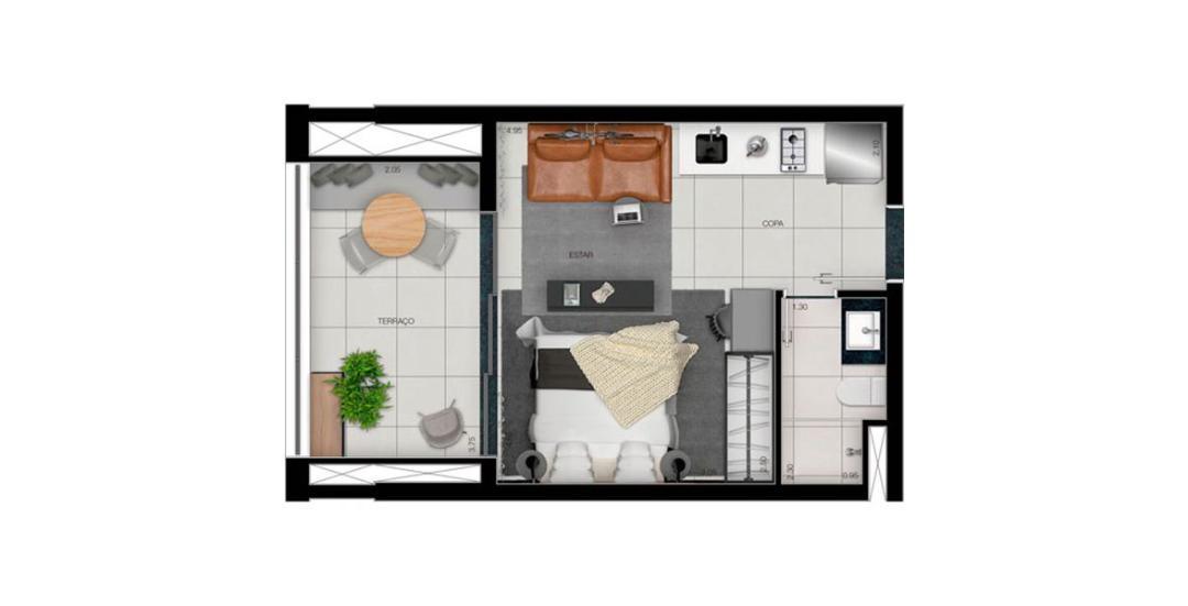 Platina 220 - Planta Residencial 35m²