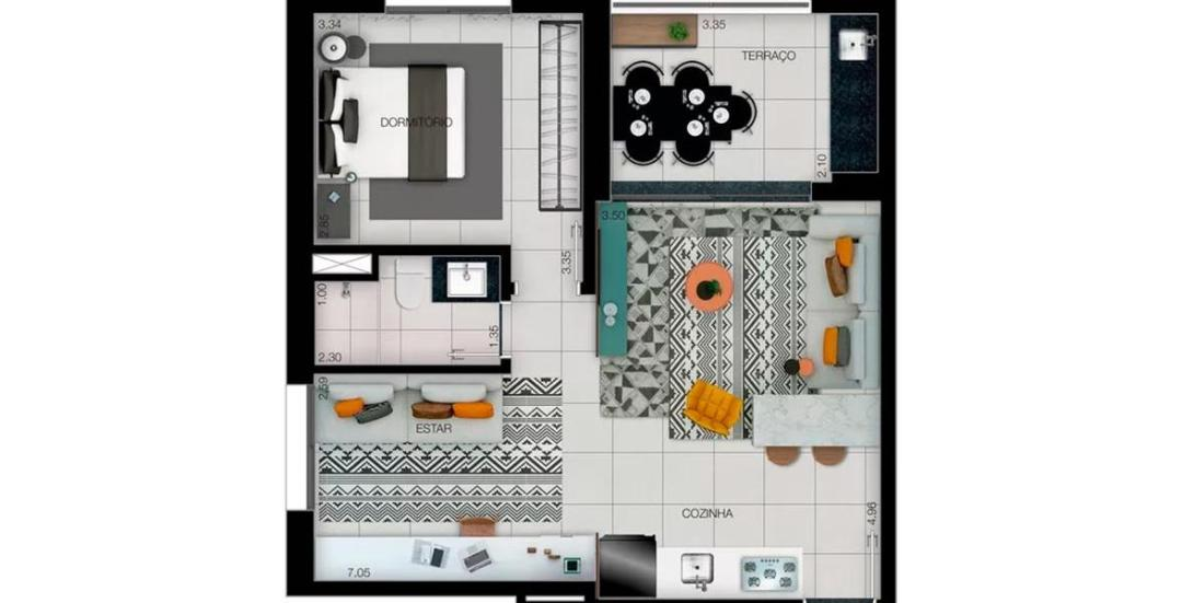 Platina 220 - Planta Residencial 57m²