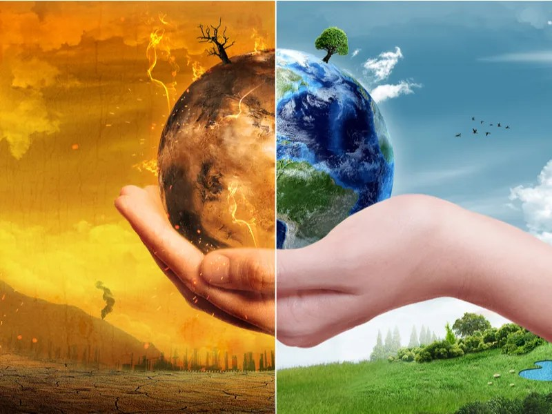 climate change earth hands