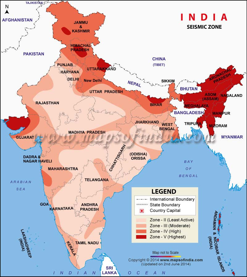 Disaster Management: Map of Sesmic Zones of India