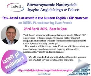 5th webinar: Evan Frendo – Task-based assessment in the business English/ ESP classroom
