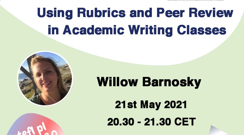 Using Rubrics and Peer Review in Academic Writing Classes – a webinar by Willow Barnosky