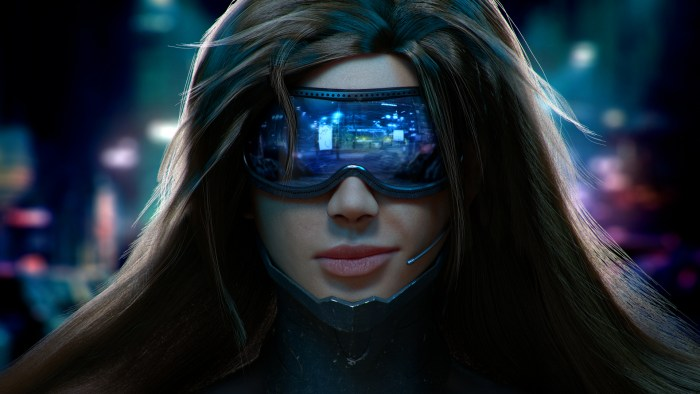 Cyber girl bionique h+transhumanisme tech